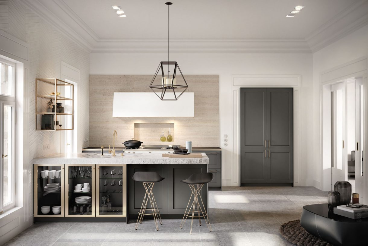 SieMatic SE2002BA - Graphite Grey Matt / Brushed Gold Bronze Glass Cabinets