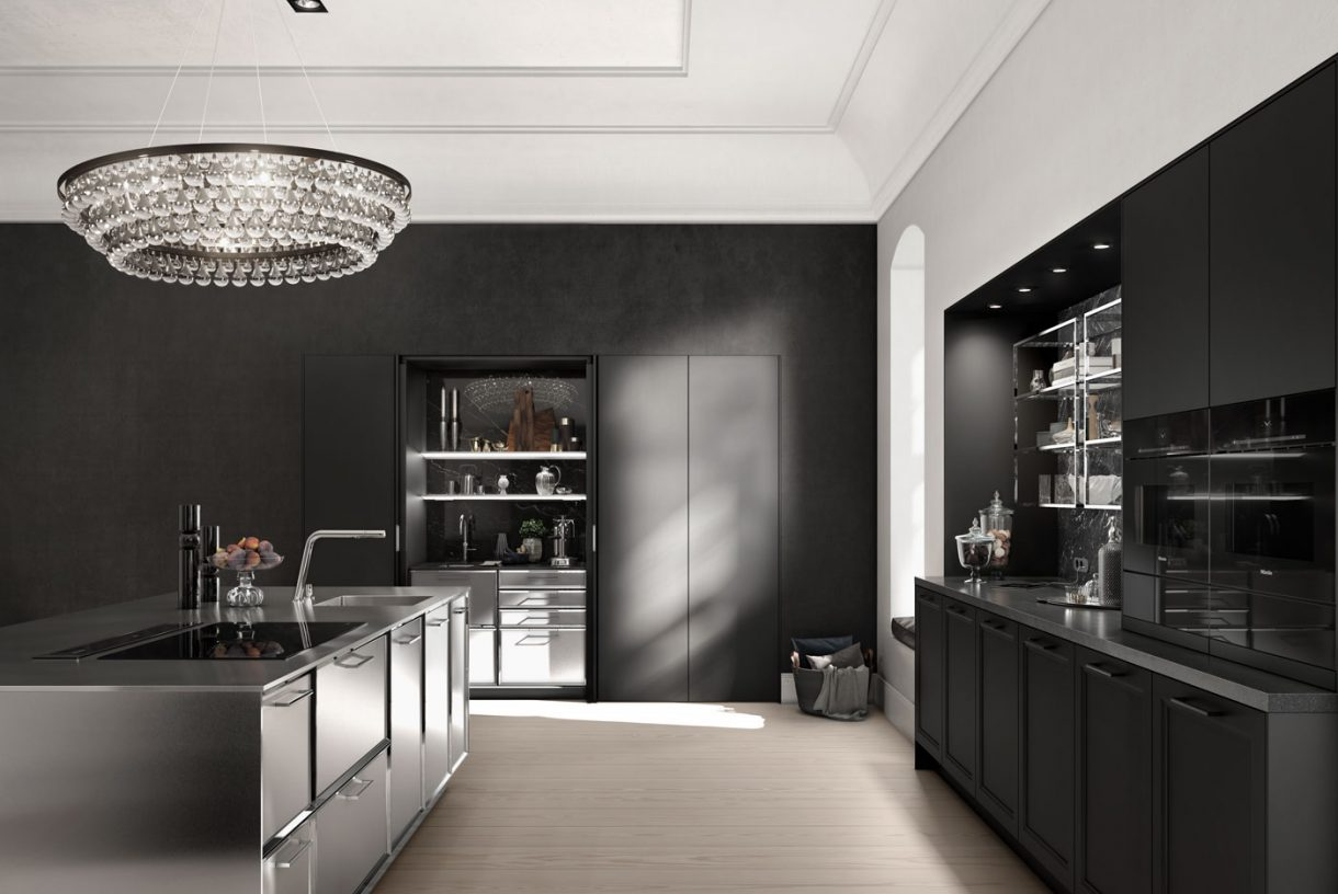 SieMatic Classic Nickel Gloss Facetted Cabinets / SE2002BA - Black Matt / SE8008LS Black Matt