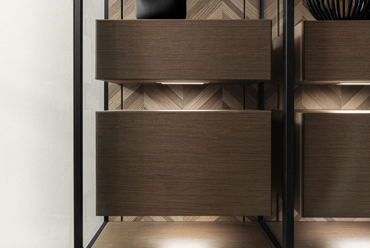 Veneer Interior Drawer and Pull-Out - SLX Glass Cabinet
