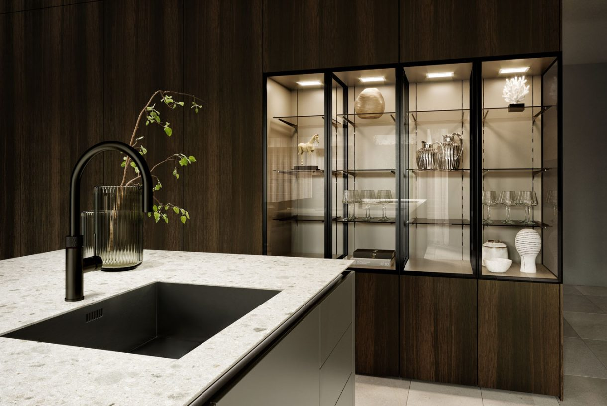 SieMatic SLX-SLS - Agate Grey / SieMatic 4004-H Smoked Oak / SLX Glass Cabinets in Black Matt